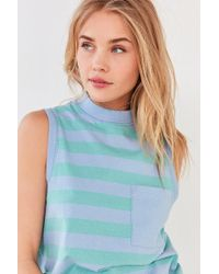 BDG - Blue Striped Mock-neck Tank Top - Lyst