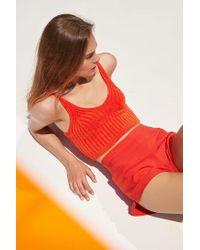 Silence + Noise - Orange Tiny Ribbed Knit Tank Top - Lyst
