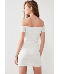 Silence + Noise - White Shadow Striped Off-the-shoulder Bodycon Dress - Lyst