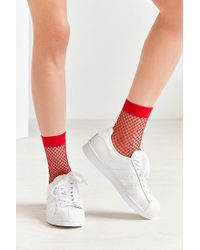 Out From Under - Red Glitter Fishnet Ankle Sock - Lyst