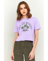 BDG - Purple Cali Palm Tree Cropped Tee - Lyst