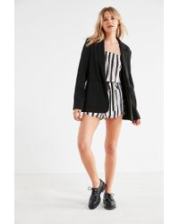 Silence + Noise - Black Off-the-shoulder Striped Bell-sleeve Romper - Lyst