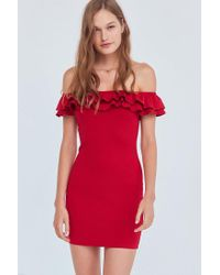 Silence + Noise - Red Off-the-shoulder Ruffle Ponte Dress - Lyst