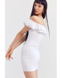 Silence + Noise | White Off-the-shoulder Ruffle Ponte Dress | Lyst