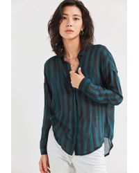 BDG | Green Twill Button-down Tunic Top | Lyst