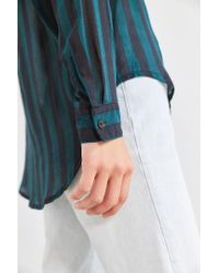 BDG - Green Twill Button-down Tunic Top - Lyst