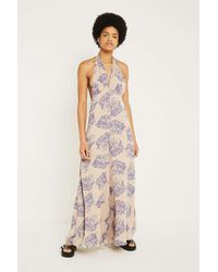 Urban Outfitters Blue Uo Maria Plunging Wide-leg Jumpsuit