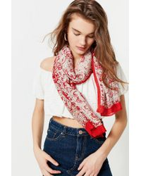 Urban Outfitters - Bordered Printed Lightweight Woven Scarf - Lyst