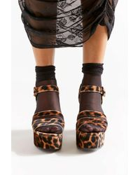 Urban Outfitters Brown Uo Avery Velvet Leopard Platform Heel