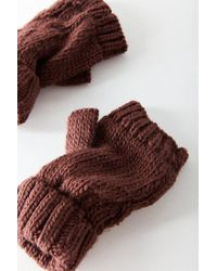 Urban Outfitters - Multicolor Cable Knit Plush Fingerless Glove - Lyst