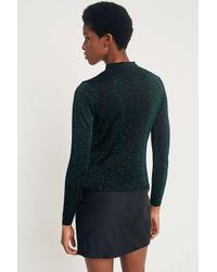 Sparkle & Fade Green Sparkle Mock Neck Top