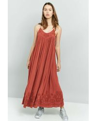 Free People | Elaine Embroidered Racer Back Maxi Dress | Lyst