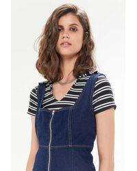 Urban Outfitters Blue Uo Zella Denim Zip-front Mini Dress