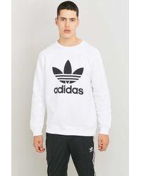 Adidas Originals Black Trefoil Logo White Crewneck Sweatshirt for men