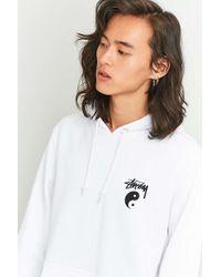 Stussy Stock Yin Yang White Hoodie for men