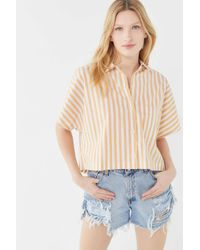Urban Renewal Multicolor Remnants Striped Boxy Cropped Top