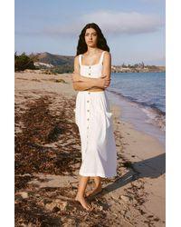 Urban Outfitters Uo Emilia White Button-through Midi Skirt