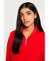 Urban Outfitters Red Urban Outfitters Zip-up Funnel Neck Sweatshirt