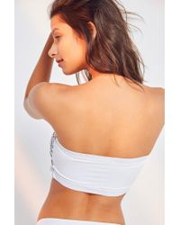 Urban Outfitters White Contrasting Smocked Bandeau Bikini Top