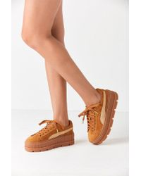 online store 70f71 ab623 Women's Brown Fenty By Rihanna Suede Cleated Creeper Sneaker