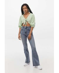 BDG Blue Panelled Seam Flare Jeans