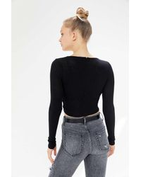 Project Social T Black Twist-front Long Sleeve Top