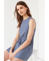 6a1c374020b Lyst - Urban Outfitters Uo Striped Knit Drawstring Romper in Blue