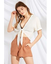 Urban Renewal - Brown Remnants High-rise Linen Short - Lyst
