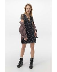 Urban Renewal Black Inspired By Vintage Rema Floral Lace-up Dress