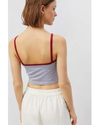 Truly Madly Deeply Gray Contrast Trim Cropped Tank Top