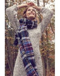 Urban Outfitters | Blue Fuzzy Plaid Scarf | Lyst