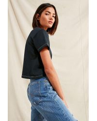 Urban Outfitters - Black Remade Overdyed Crew-neck Tee - Lyst