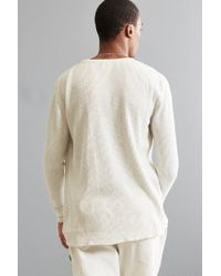 Urban Outfitters - Natural Uo Cream Waffle Thermal Crew Long Sleeve Tee for Men - Lyst