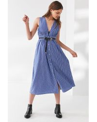 Urban Outfitters - Blue Uo Striped Button-down Plunging Midi Dress - Lyst