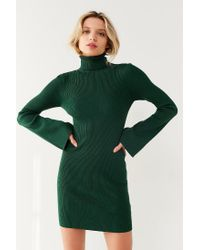 Urban Outfitters - Green Uo Turtleneck Bell-sleeve Sweater Dress - Lyst