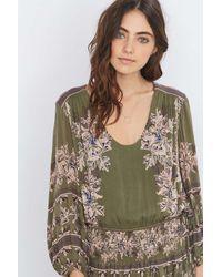Free People Green Moonlight Floral Print Mini Dress