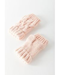 Urban Outfitters - Pink Cable Knit Plush Fingerless Glove - Lyst