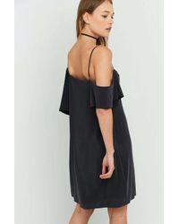 Silence + Noise Black Cold Shoulder Oversized T-shirt Dress