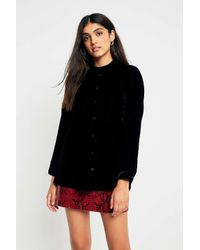 Sparkle & Fade Black Velvet Slouchy Button-through Shirt