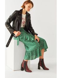 Urban Outfitters - Green Uo Ruth Ruffle Wrap Midi Skirt - Lyst