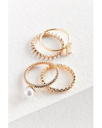 Urban Outfitters - Metallic Maeve Pearl Ring Set - Lyst