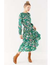 Urban Outfitters Green Uo Reese Floral Tiered Smocked Midi Dress