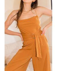 MINKPINK Orange Belted Cross-back Jumpsuit