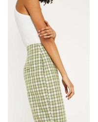 Urban Outfitters Uo Green Check High-rise Puddle Trousers
