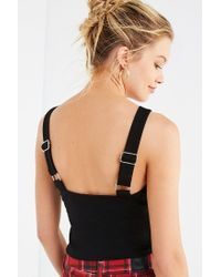 Urban Outfitters Black Uo Rachel Tie-front Apron Top