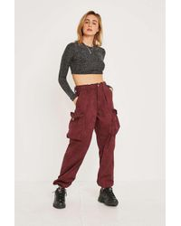 Urban Renewal Red Vintage Customised Overdyed Berry Camo Trousers