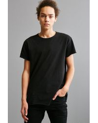 Urban Outfitters - Black Franklin Wide Neck Raw Cut Tee for Men - Lyst