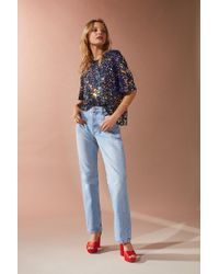 Urban Outfitters | Blue Uo Vega Sequin Party Tee | Lyst