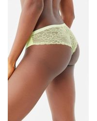 Out From Under Green Nina Laser-cut Lace-back Thong