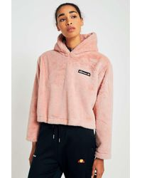 979dfaabe4 Pink Faux Fur Cropped Hoodie - Womens S